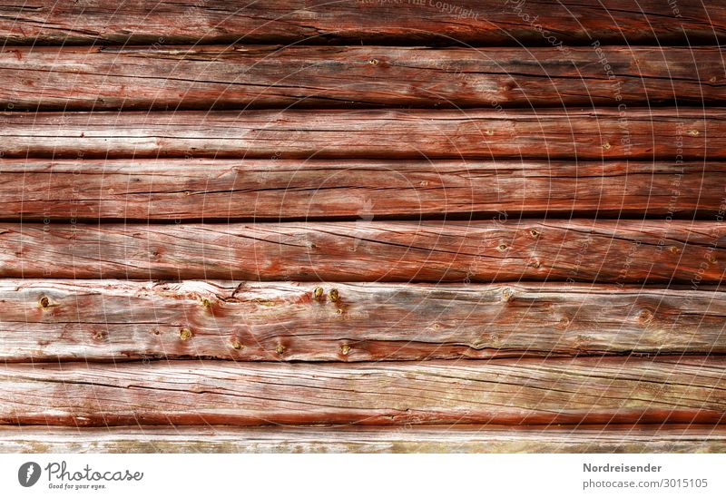 wooden background Village Fishing village Deserted Hut Manmade structures Facade Wood Old Sustainability Warmth Brown Red Protection Colour Wooden house