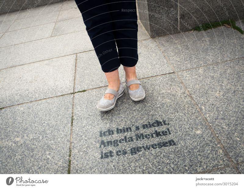 It was you? Joy Sightseeing Feminine Legs 1 Human being 60 years and older Senior citizen Downtown Berlin Sidewalk Pants Footwear Stone Line Word Typography