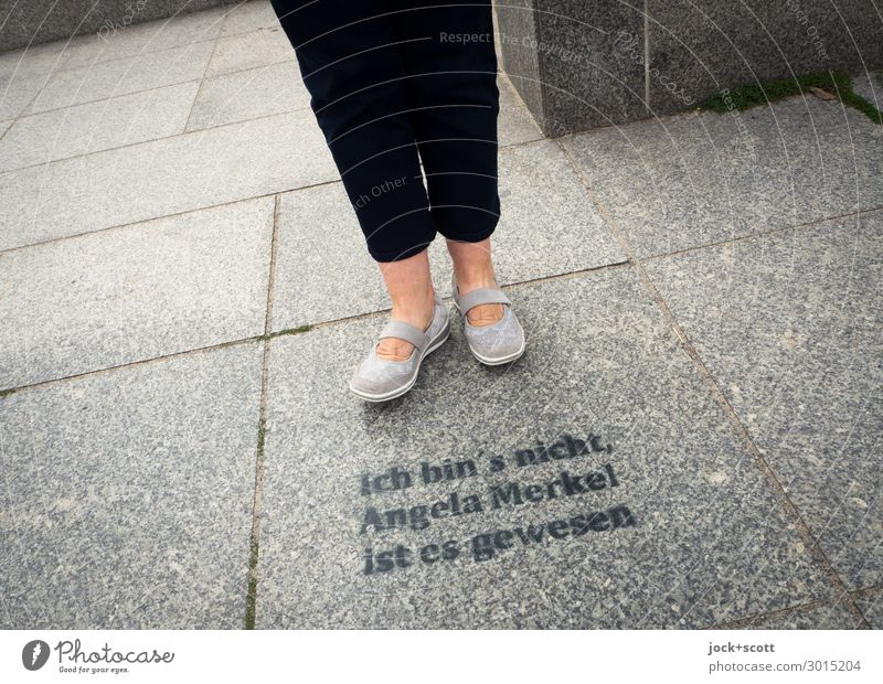It was you? Legs Sidewalk Pants Footwear Word Typography Stand Famousness Sharp-edged Gray Unwavering Identity Creativity Politics and state Denial Opinion