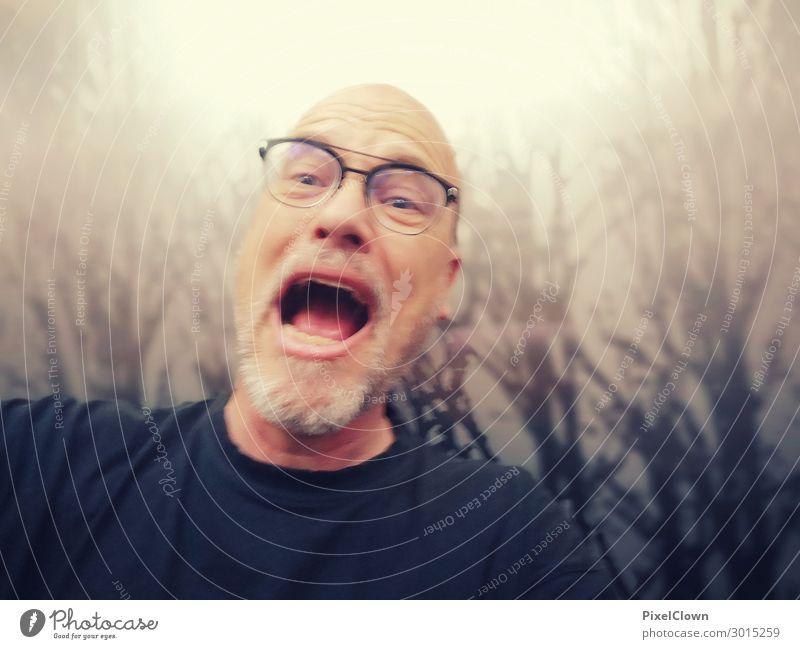 The Scream Lifestyle Joy Night life Workplace Human being Masculine Man Adults Male senior 1 45 - 60 years Art T-shirt Eyeglasses Aggression Threat Retro Brown