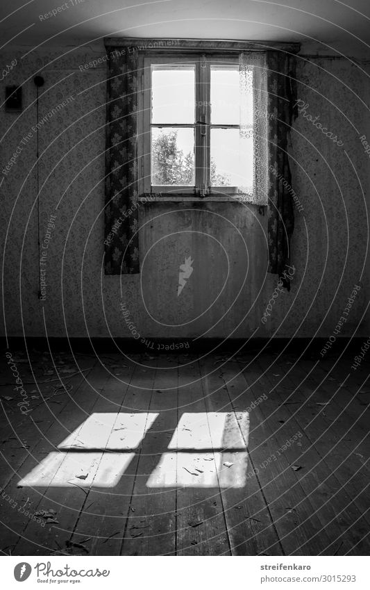 Light shines through the window of a long abandoned room and casts a bright light on the old, empty floor Living or residing Flat (apartment)