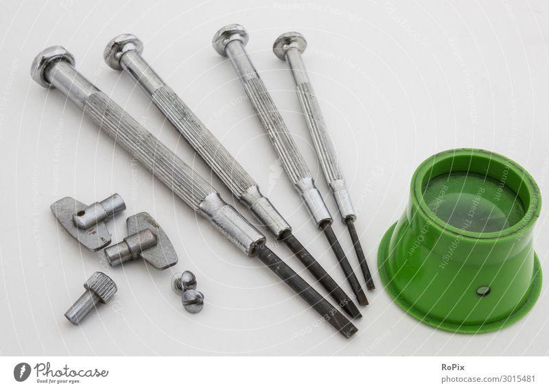 Fine mechanical tool. Screw Screwdriver precision engineering watchmaker Magnifying glass Tool tools Workshop technique Mechanics Wing nut Alarm clock gag