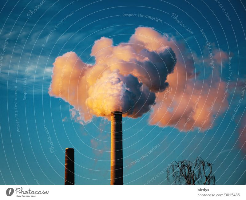 CO2 - Harmful to the climate Industry Sky Climate change Beautiful weather Industrial plant Chimney Smoke Authentic Threat Blue Gray Orange White