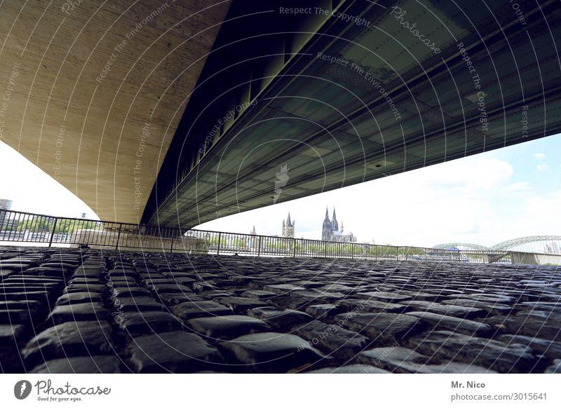 Bridge over trobled water Town Church Dome Street Lanes & trails Cologne Cologne Cathedral Deutzer Bridge Cobblestones Concrete Manmade structures Architecture
