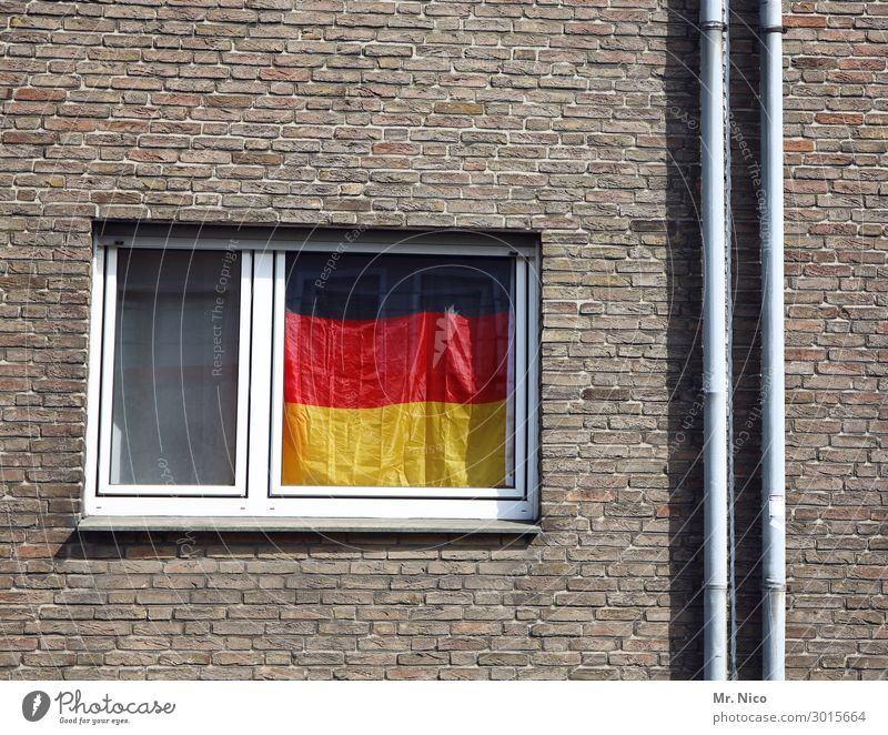 German flag hanging in a window Black Red Gold Window Facade Germany Flag Pride German Flag Living or residing Politics and state Society Ensign Downspout