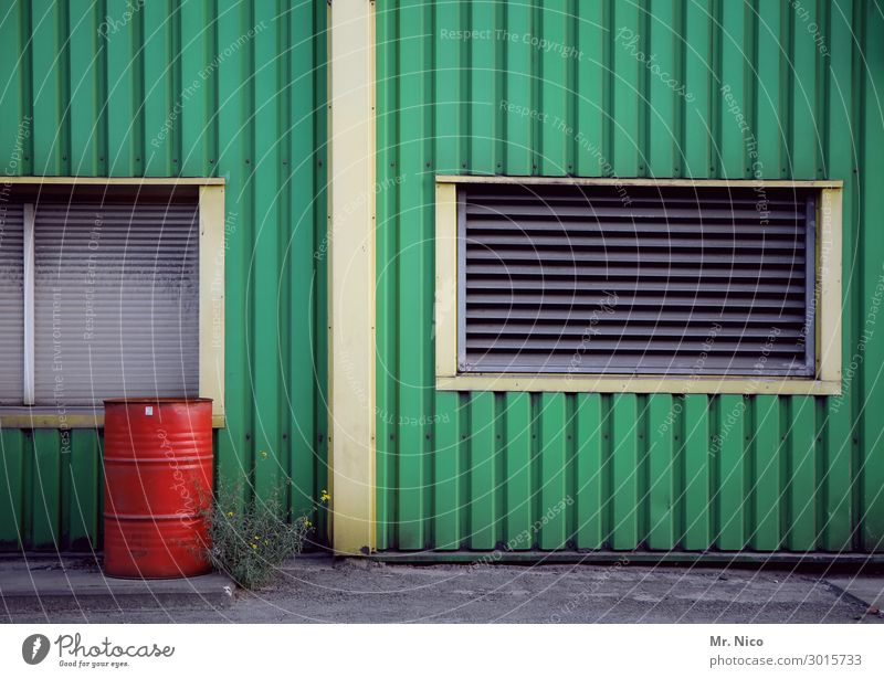 façade Building Window Green Red Keg Facade Cladding Industry Industrial site Workplace Craft (trade) Construction site Plastic Line Weed Plant