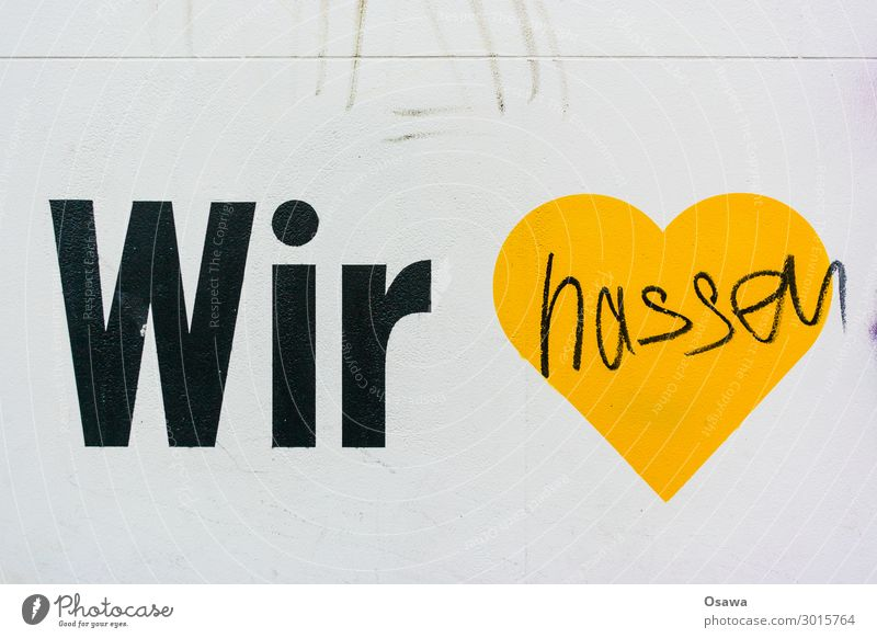 White Black Graffiti Yellow Wall (building) Love Emotions Wall (barrier) Moody Characters Heart Sign Symbols and metaphors Anger Aggression Frustration