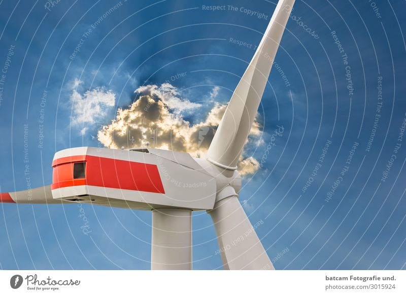 Wind turbine in sunlight with clouds Renewable energy Wind energy plant Nature Clouds Climate Field Good Sustainability Positive Blue drone photo gondola Sky