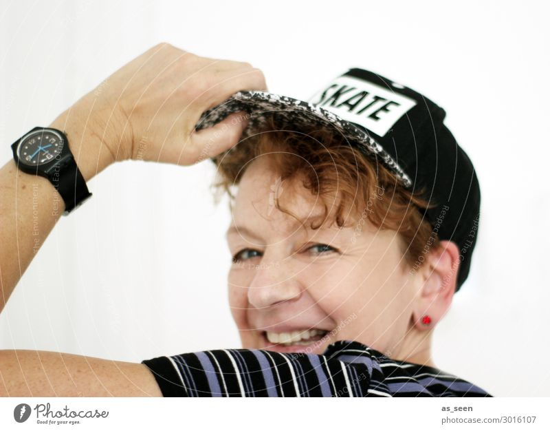 . Woman Adults Life 30 - 45 years T-shirt Striped Wristwatch Baseball cap Red-haired Short-haired Curl Smiling Laughter Dance Authentic Brash Happiness