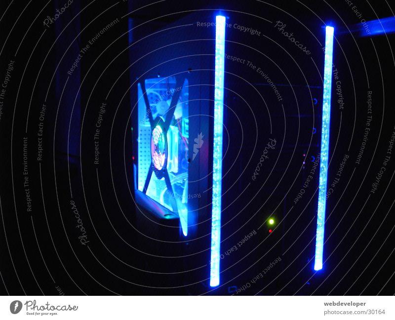 Blue Black Dark Computer Technology Neon light Design Electrical equipment Modding
