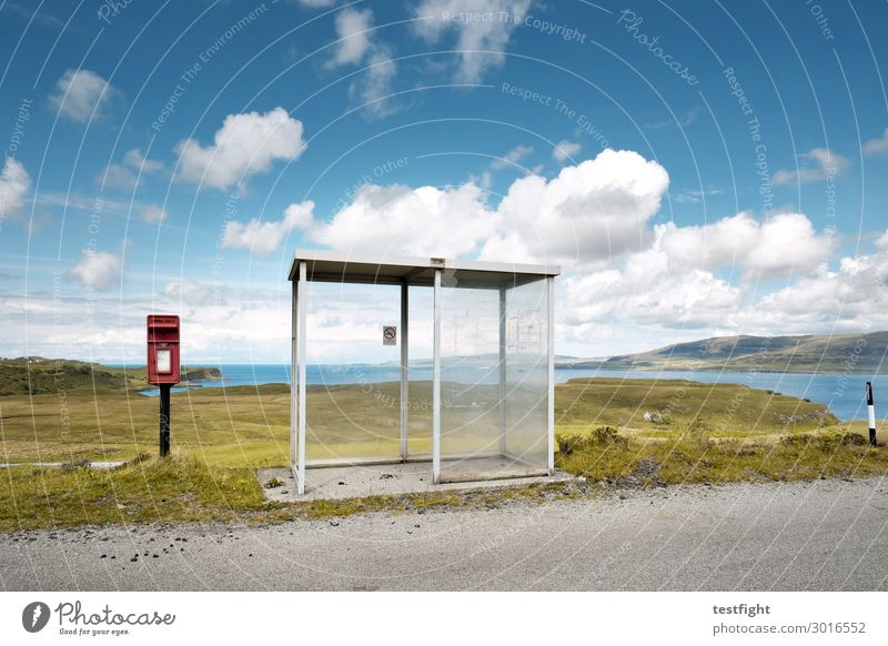 bus stop Vacation & Travel Tourism Trip Environment Nature Water Sky Hill Coast Bay Ocean Island Architecture Means of transport Street Bus Stand Wait
