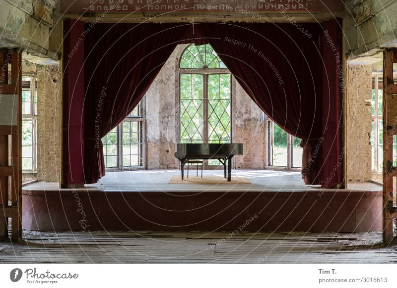 stage Deserted House (Residential Structure) Ruin Manmade structures Building Architecture Window Door Art Stagnating Moody Grand piano Piano Stage Drape