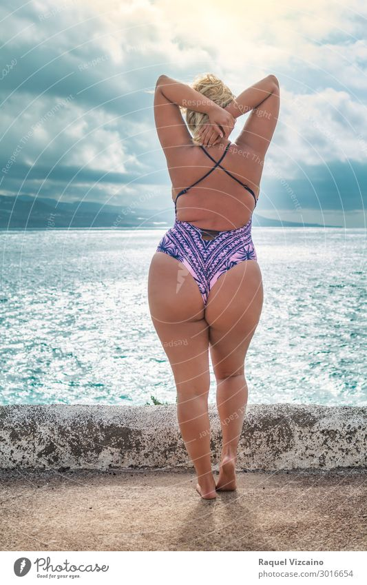 curvy model with swimsuit Lifestyle Exotic Body Wellness Vacation & Travel Summer Summer vacation Sun Beach Ocean Woman Adults 1 Human being 18 - 30 years