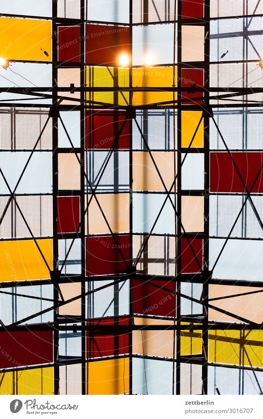 Glass roof from below Roof Flat roof Mosaic Abstract Colour Multicoloured Pattern Design House (Residential Structure) Hall Warehouse Chess Chessboard