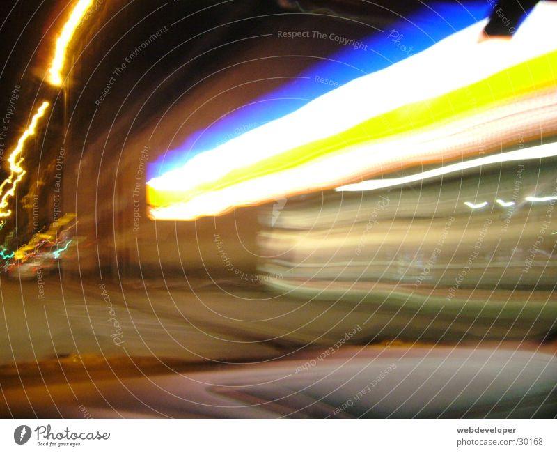 Aldi Store premises Supermarket Dark Stripe Light Long exposure aldi Lidl discount Bright Blue Orange