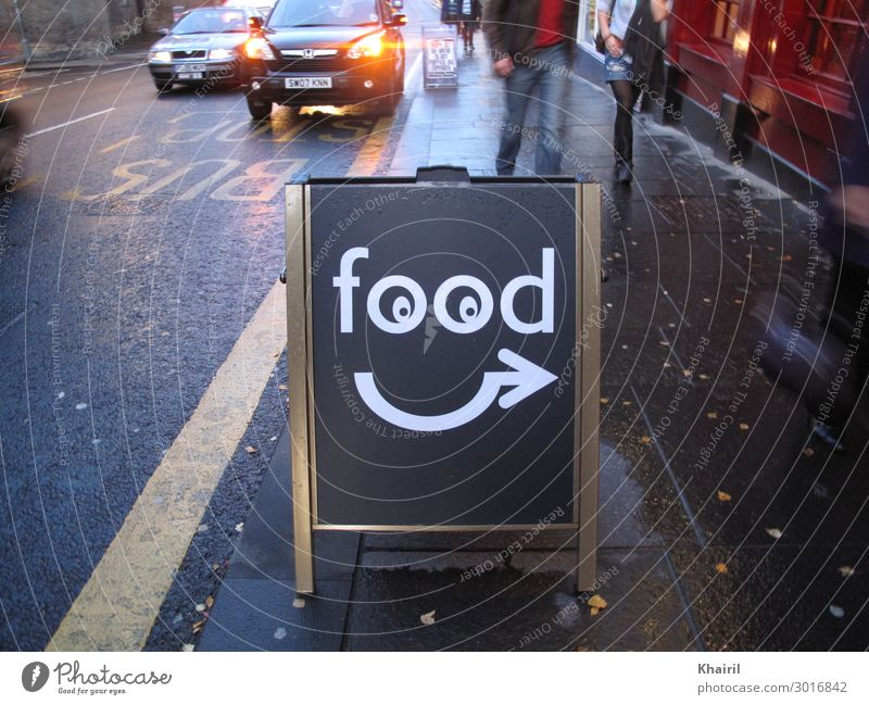 Funny food sign with googly eyes and arrow Human being Vacation & Travel Town Joy Eating Lifestyle Legs Couple Tourism Trip Rain Car Transport Fog Walking