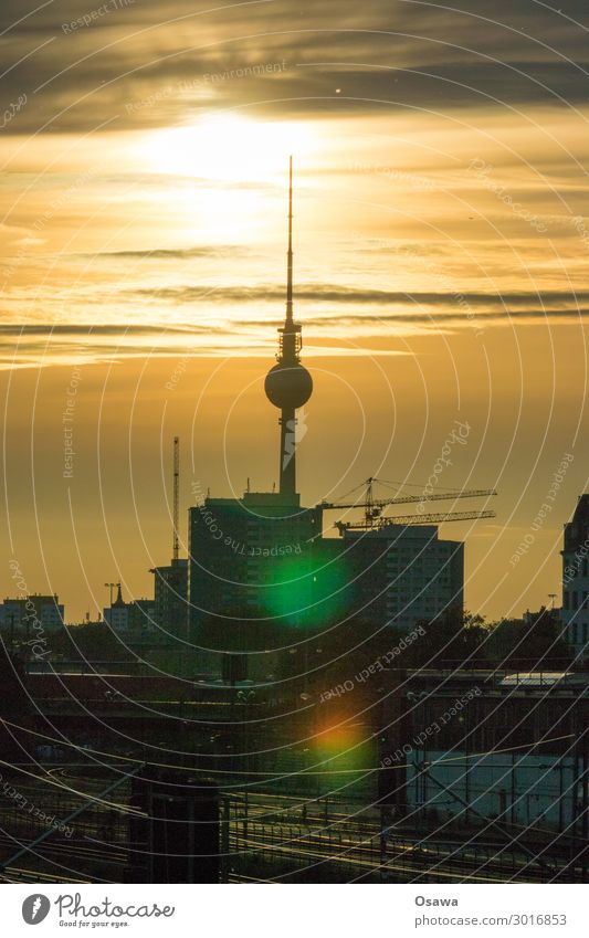 700 television tower Berlin Berlin TV Tower Television tower Alexanderplatz Town Skyline City life Sun Dusk Summer Building Silhouette Clouds Crane