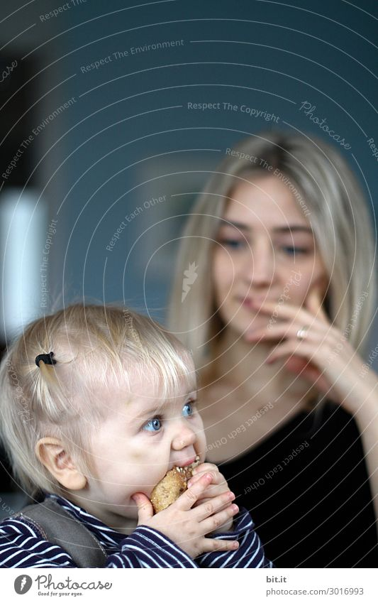 Enjoy with sensitivity... Human being Feminine Child Toddler girl Eating To enjoy Study Half-profile Looking away Infancy 1 - 3 years Exterior shot Mother mama