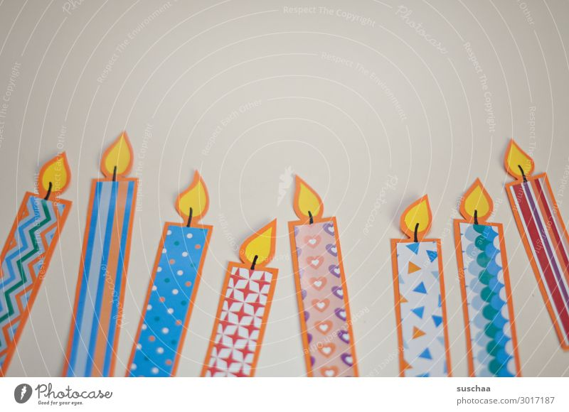 candles Candle Paper Handicraft Multicoloured Pattern Flame Fire Birthday birthday candles Simple 8 Neutral Background Copy Space top Salutation Card flatlay