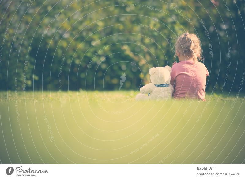 Child Human being Nature Summer Animal Calm Girl Life Environment Feminine Emotions Garden Playing Together Think Friendship