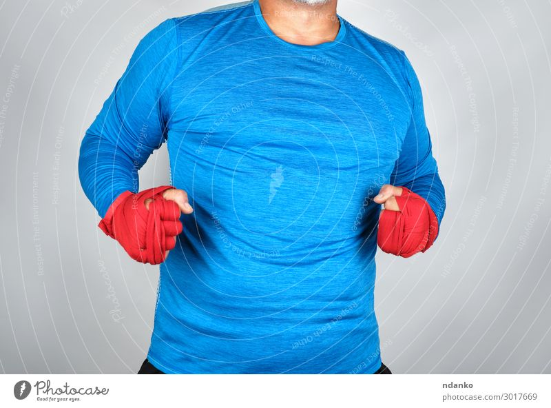adult athlete in blue clothes Human being Man Blue White Red Hand Black Lifestyle Adults Sports Gray Masculine Body Power Stand Fitness
