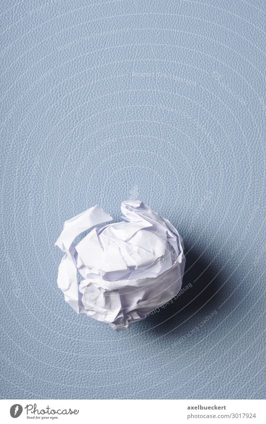 crumpled paper Office Business Blue Frustration Background picture Paper Ball paper ball Wrinkles Throw away Write Desk Blotting pad Fiasco Error Creativity