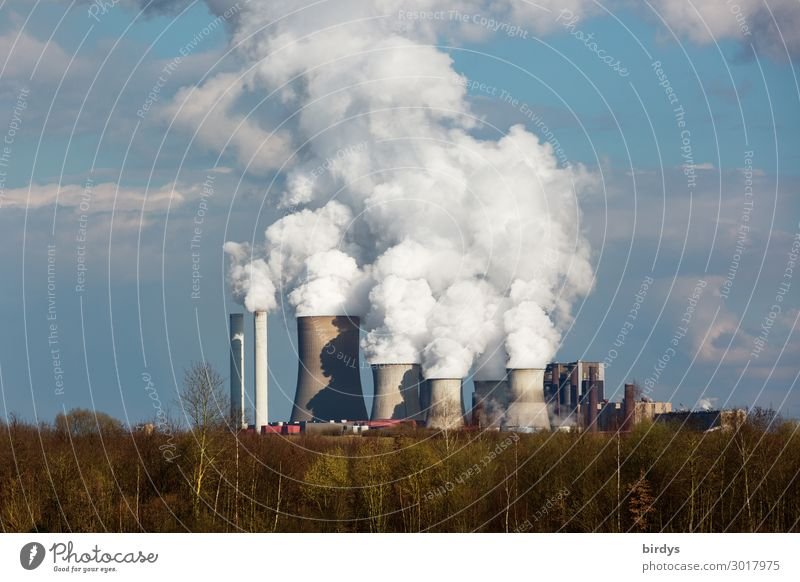 RWE lignite-fired power plant in NRW Energy industry Coal power station Sky Clouds Climate change Tree Forest Industrial plant Chimney Threat Dark Dangerous