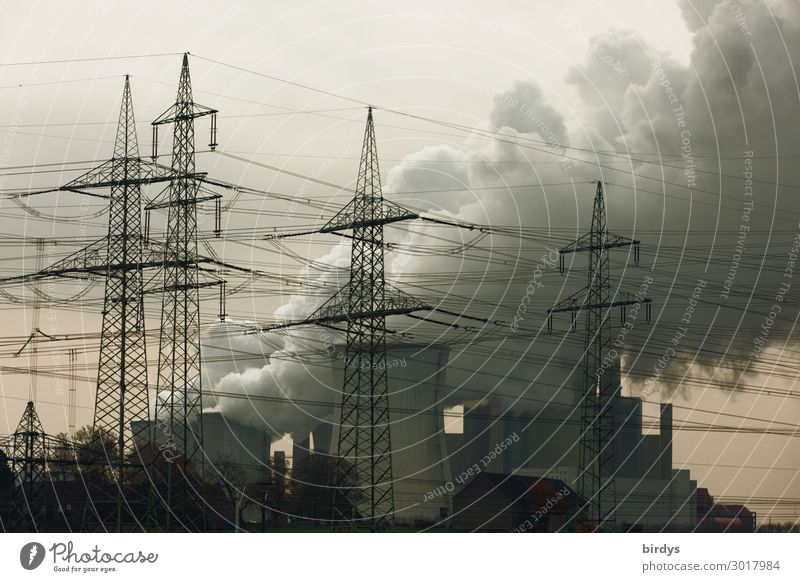 Dark Germany Copy Space Energy industry Threat Exhaust gas Electricity pylon Climate change Environmental pollution High voltage power line Steam