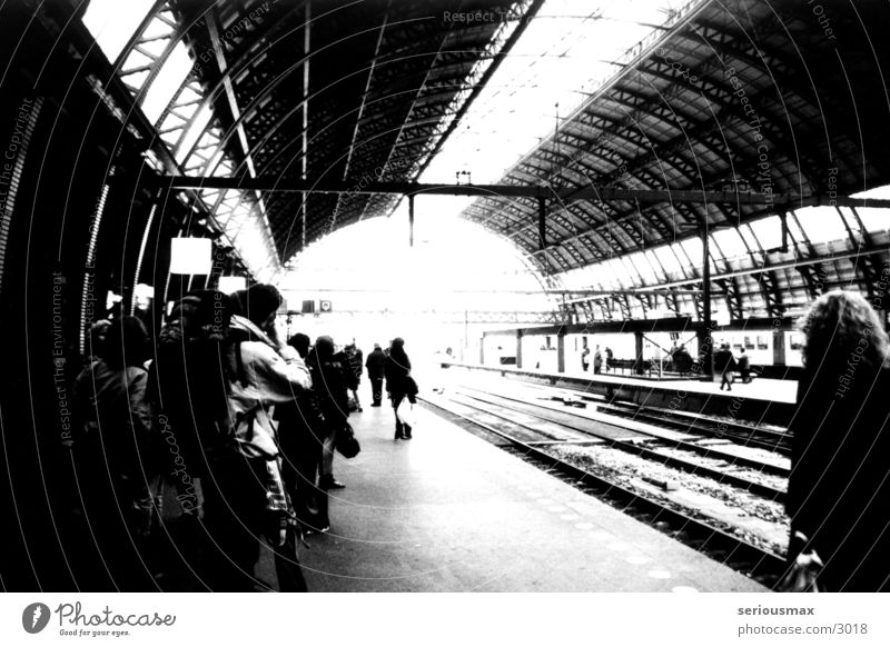 Amsterdam station Railroad tracks Passenger Black White Suitcase Train station Vacation & Travel
