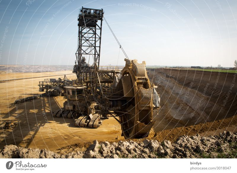 Bucket wheel excavator in Garzweiler lignite mine Energy industry Earth Sky Climate change Beautiful weather Threat Society Might Politics and state Emphasis