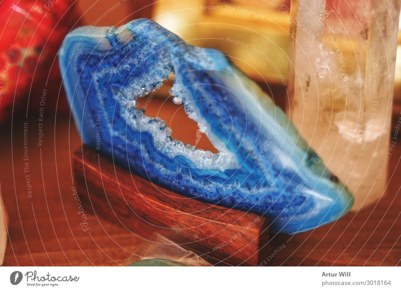 Blue agate slice Lifestyle Shopping Style Design Wood Crystal Glittering Joy Beautiful Minerals Agate Slice Colour photo Interior shot Close-up Detail