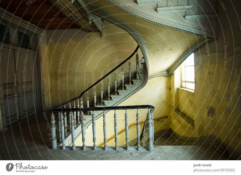 1.Floor Architecture Art nouveau Berlin Stairs Window Door Staircase (Hallway) Story Wood Authentic Historic Above Original Brown Gray Moody Calm Unwavering