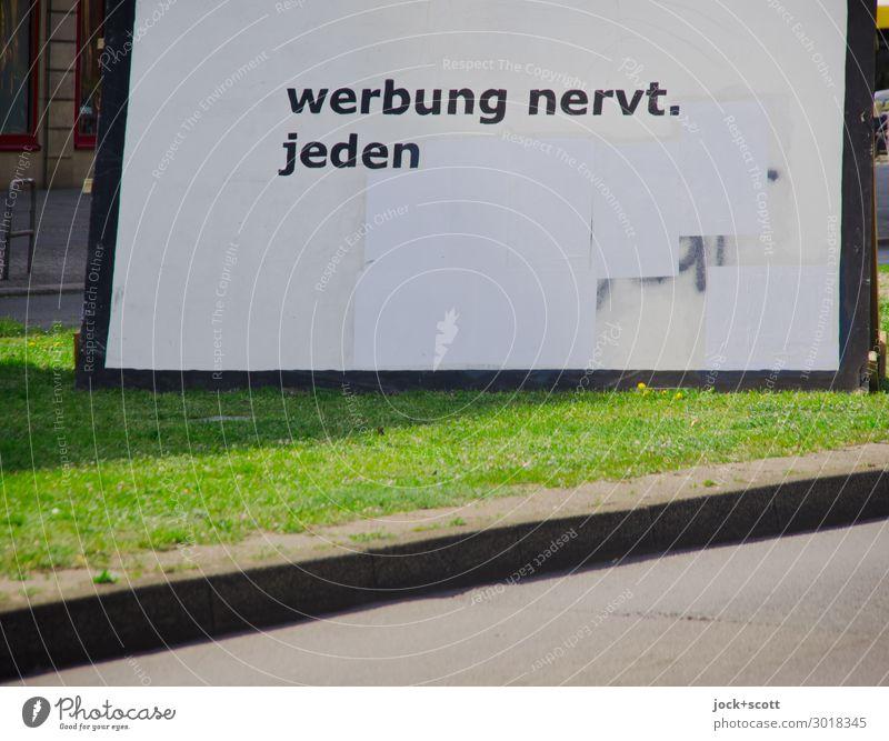 Advertising against advertising Advertising Industry Street art Beautiful weather Grass Friedrichshain Billboard Stripe Typography Exceptional Sharp-edged great