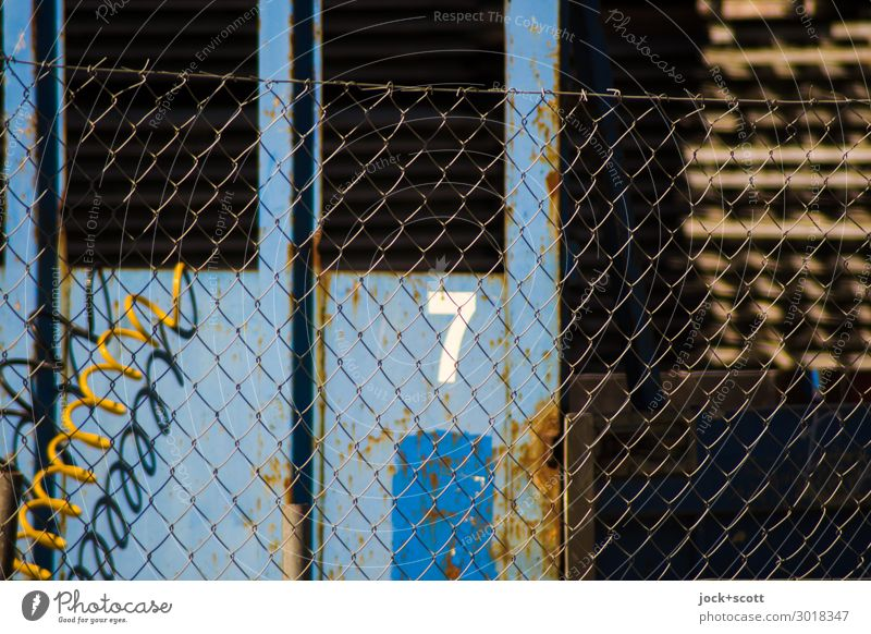 A seven Workplace Industry Closing time Marzahn Wire netting fence 7 Hose Metal Network Sharp-edged Trashy Warmth Blue Moody Responsibility Nerviness Chaos
