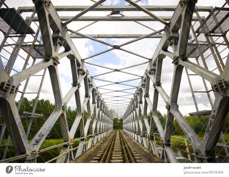 Across a cultural monument Architecture GDR Bridge Traffic infrastructure Railroad tracks Historic Long Original Retro Unwavering Esthetic Innovative Style