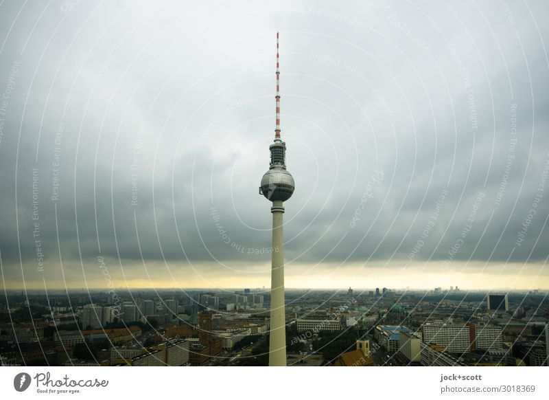Light on the horizon Sightseeing Sky Clouds Climate change Alexanderplatz Downtown Berlin Tourist Attraction Landmark Berlin TV Tower Authentic Famousness Dark