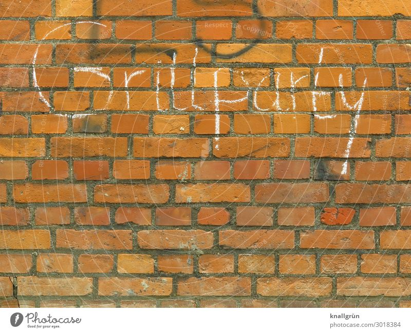 Barbecue Party Wall (barrier) Wall (building) Characters Graffiti Communicate Town Brown White Leisure and hobbies Barbecue (event) Colour photo Exterior shot
