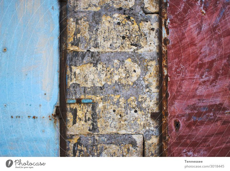 Blue and red painted metal doors Dirty Grunge Background picture Metal Door Concrete Brick Wall (building) Rough Paints and varnish Painted distressed Red