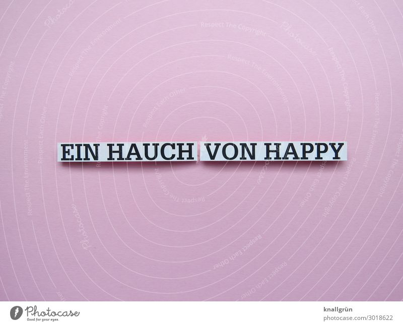A TOUCH OF HAPPINESS Characters Signs and labeling Communicate Happy Pink Black White Emotions Joy Contentment Joie de vivre (Vitality) Colour photo Studio shot