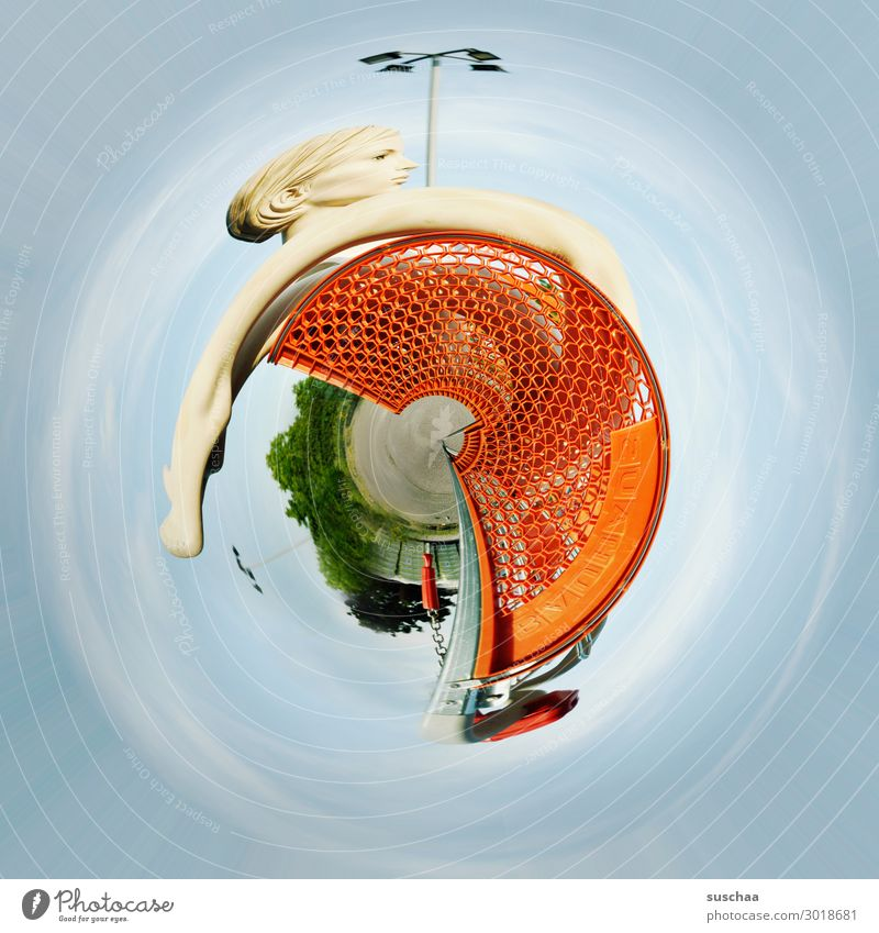 life on planet shopping cart tiney world Round Rotation Absurd Strange Whimsical Shopping Trolley Mannequin Rotate Abstract Earth Distorted Circle