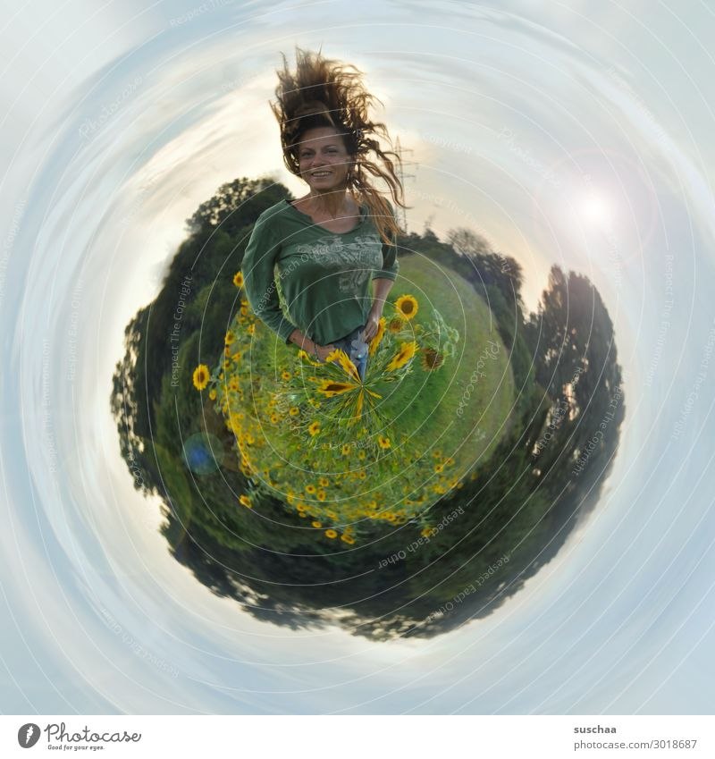 planet suschaa Earth Universe Sky Horizon Sunflower tiny plant small world Circle Round Planet Reaction Human being Figure Woman Hair and hairstyles Abstract