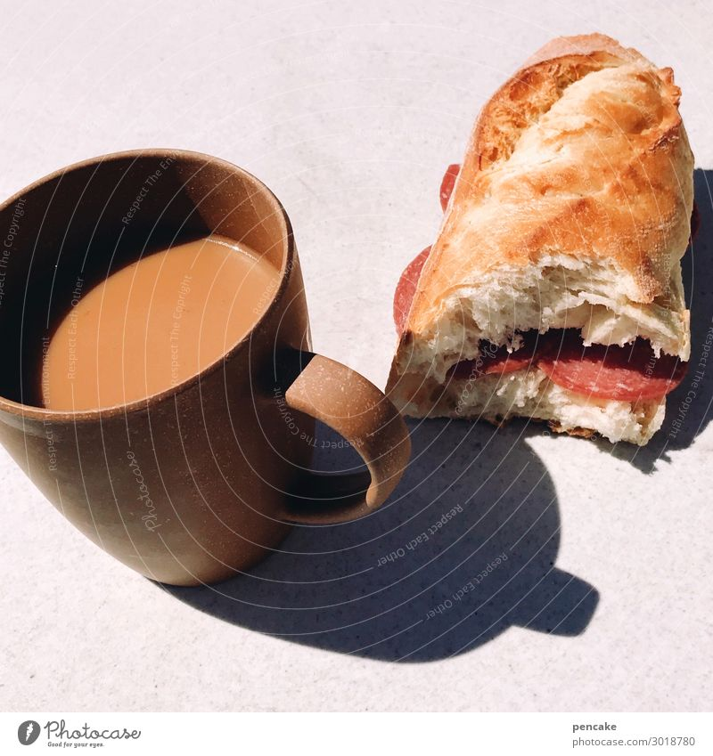 camper breakfast Food Sausage Dough Baked goods Roll Breakfast Beverage Hot drink Coffee Summer vacation Sunlight Relaxation Eating Camping Simple White bread