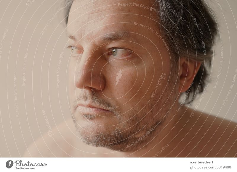 meditative middle-aged man Human being Masculine Man Adults Face 1 30 - 45 years 45 - 60 years Black-haired Gray-haired Facial hair Designer stubble Beard Think