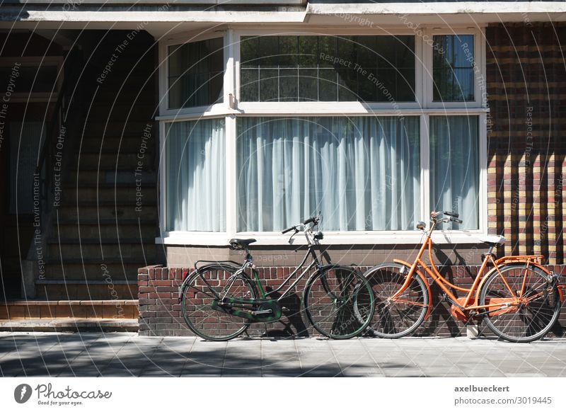 two bicycles lean against the house wall Deserted House (Residential Structure) Building Architecture Wall (barrier) Wall (building) Facade Window