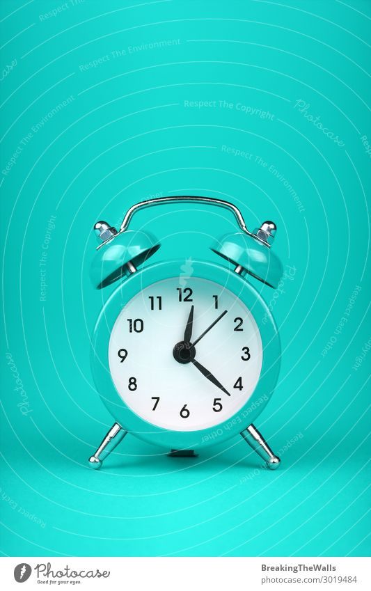 Close up one teal blue alarm clock over turquoise Clock Metal Sleep Fresh Retro Blue Green Turquoise Colour Tradition Mint bell Twin two background wake