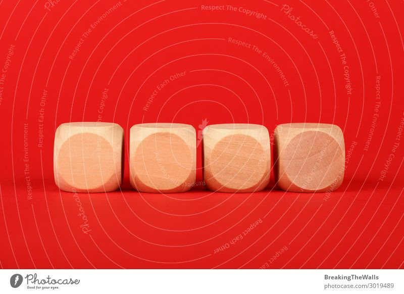 Blank wooden cube signs over red background Paper Toys Wood Red Colour Word block Low angle Vantage point colorful Conceptual design Text issue Problem