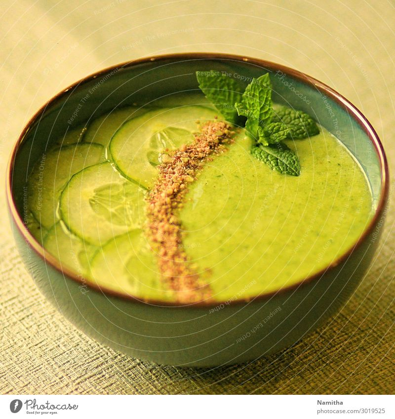 Cucumber Mint soup Food Vegetable Soup Stew Nutrition Eating Lunch Organic produce Vegetarian diet Diet Bowl Fresh Healthy Delicious Green Subdued colour