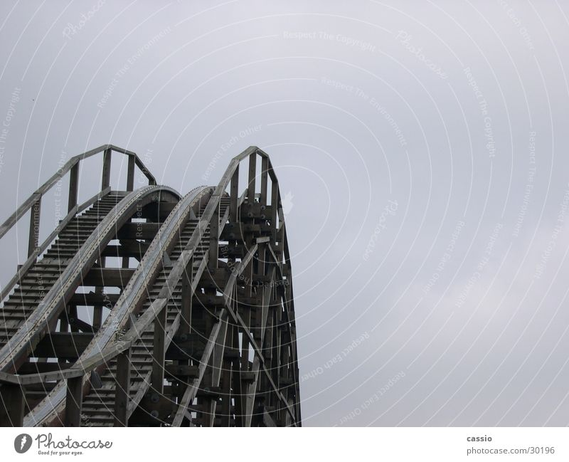 Up. Roller coaster Amusement Park Soltau Wood Steel Barrier colossuses heath park Scaffold Sky