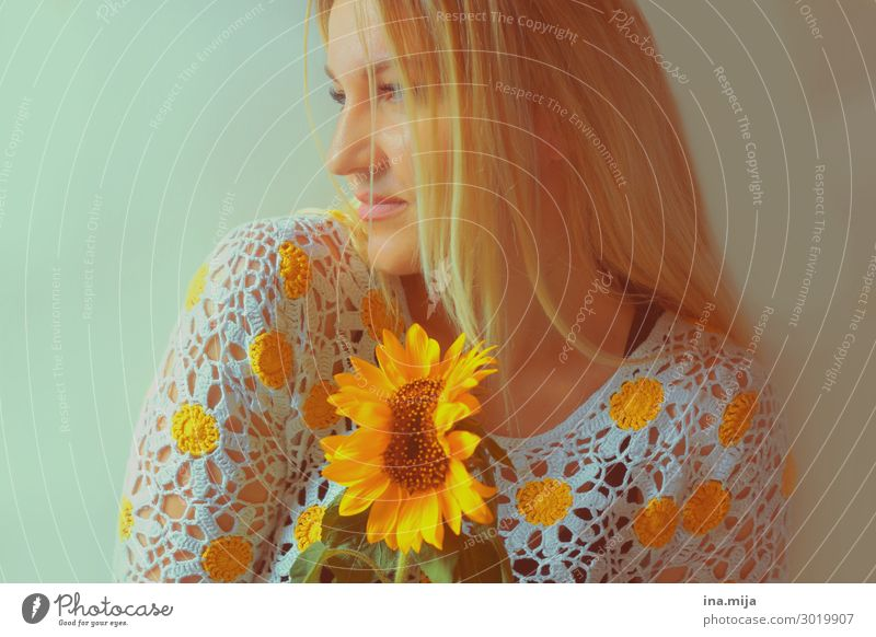 blonde woman with sunflower Human being Feminine Young woman Youth (Young adults) Woman Adults Life Summer Hair and hairstyles Blonde Long-haired Fragrance
