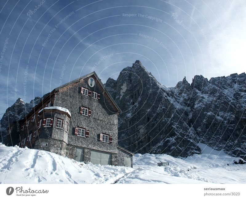 Karwendel Europe Alps Chalk alps Snow Hut Sky Mountain